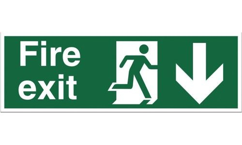 Fire Sign:Fire Exit Down 150x450mm Self Adhesive