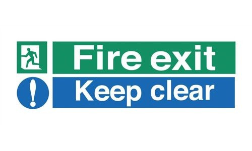 Safety Sign:Fire Exit and Keep Clear 150x450mm Self Adhesive