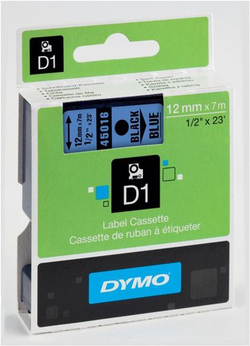 Dymo D1 Labels 12mm Black on Blue
