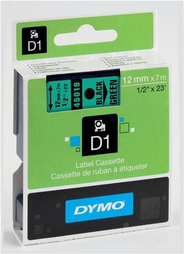 Dymo D1 Labels 12mm Black on Green