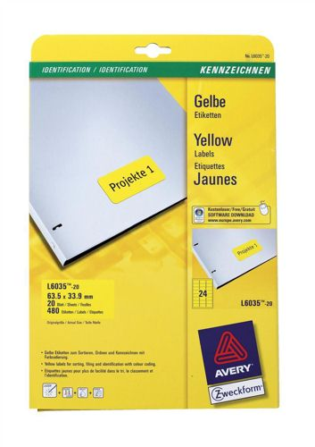 Avery Coloured Labels Laser 24/Sheet 63.5x33.9mm Yellow [480 Labels]