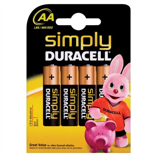 Duracell Simply Batteries AA [Pack of 4]