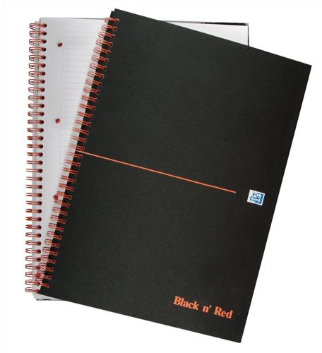 Black n Red A4+ Matt Black Wire Notebooks [Pack of 5]