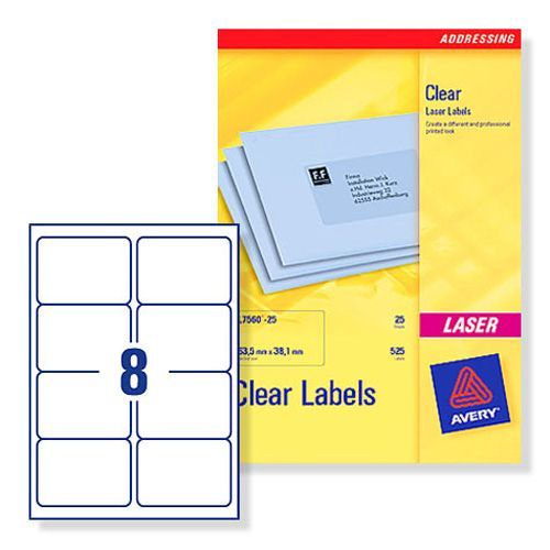 Avery Clear Laser Labels 8/Sheet 99.1x67.7mm L7165-25 [25 Sheets]