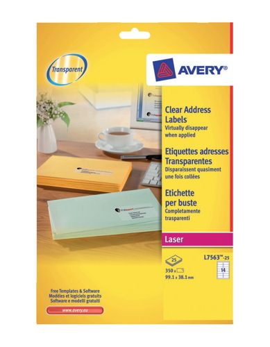 Avery QuickPeel Clear Laser Address Labels L7563-25 14/Sheet [Pack of 25 Sheets]