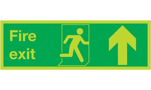 Photoluminescent Sign:Fire Exit Up 150x450mm PVC