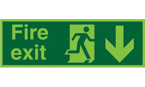 Photoluminescent Sign:Fire Exit Down 150x450mm PVC