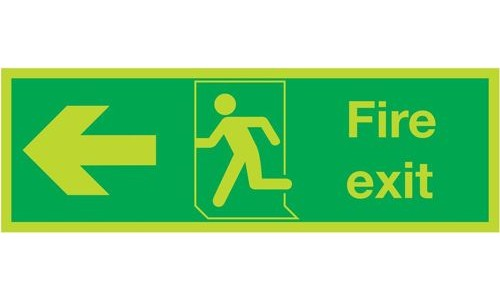 Photoluminescent Sign:Fire Exit Left 150x450mm PVC