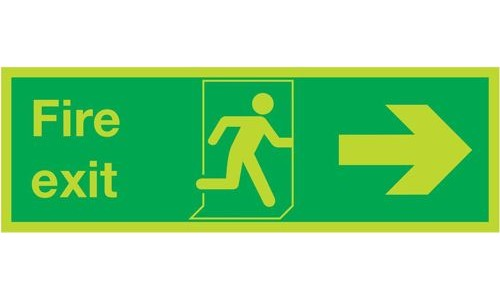 Photoluminescent Sign:Fire Exit Right 150x450mm PVC