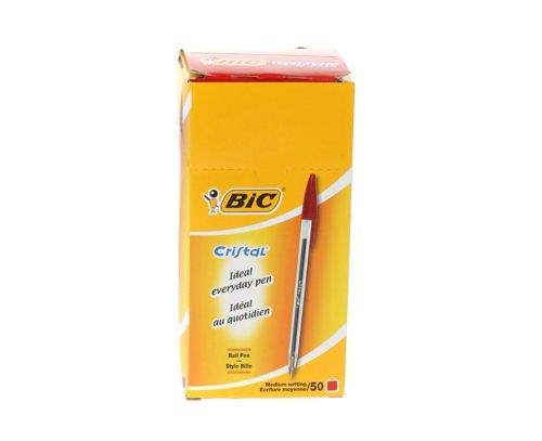Bic Cristal Medium Red Ballpoint Pen [Pack of 50]