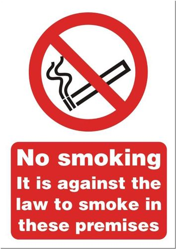No Smoking Sign:No Smoking (Against the Law) A5 Self Adhesive