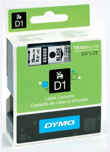 Dymo D1 Labels 19mm Black on Clear