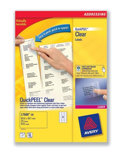 Avery QuickPeel Clear Laser Address Labels L7560-25 21/Sheet [Pack of 25 Sheets]