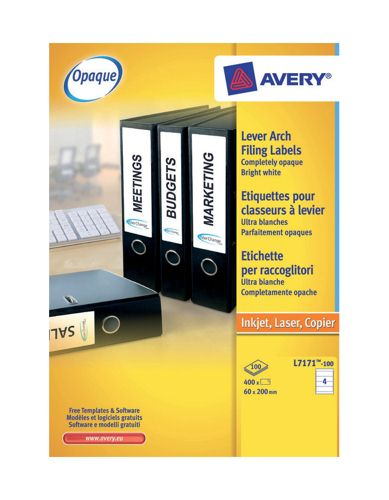 Avery Lever Arch Labels 200x60mm [Pack of 100]