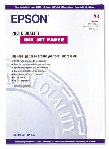 Epson S041068 Photo Quality Inkjet Paper [Pack of 100]