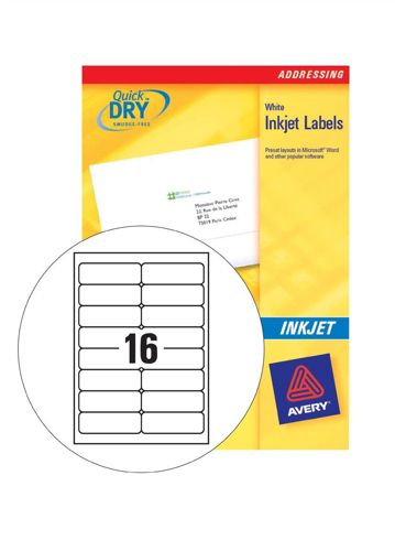 Avery Inkjet Address Labels 16/Sheet 99.1x33.9mm J8162-100 [100 Sheets]