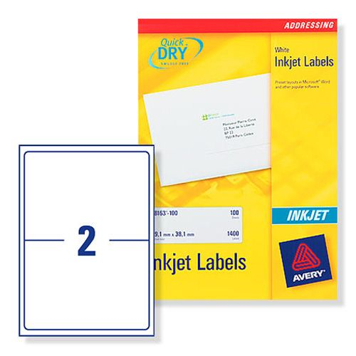 Avery Inkjet Labels 2/Sheet 199.6x143.5mm J8168-100 [100 Sheets]