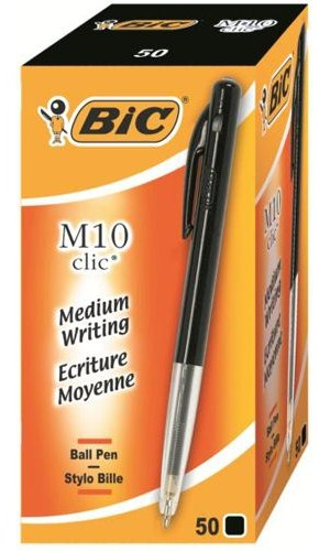 Bic Clic Medium Black [Pack of 50]