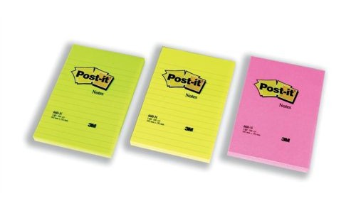 Post-It 102x152mm Feint Ruled Rainbow [Pack of 6]