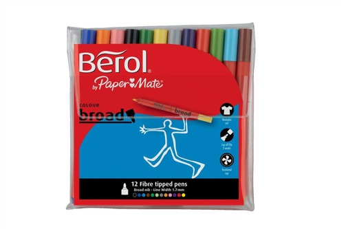 Berol Colour Broad Pens Assorted [Wallet of 12]