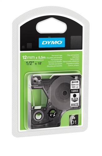 Dymo D1 Permanent Tape 12mmx5.5m Black on White