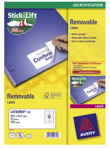 Avery Removable Laser Labels 12/Sheet 99.1x42.3mm L4743REV-25 [25 Sheets]