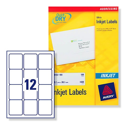 Avery Inkjet Address Labels 12/Sheet 63.5x72mm J8164-100 [Pack of 100]