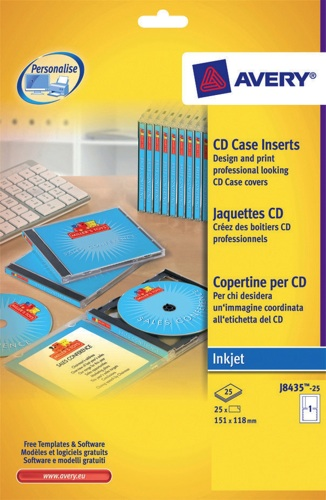 Avery cd insert matt inkjet white j8435 25 25 sheets for Avery dvd case template