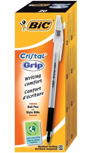 Bic Cristal Grip Ballpens Medium Black [Pack of 20]