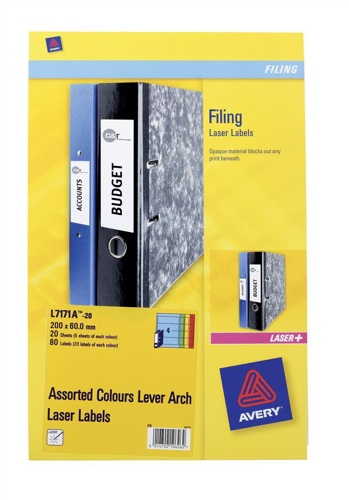 Avery Lever Arch Spine Labels Assorted [Pack of 20]