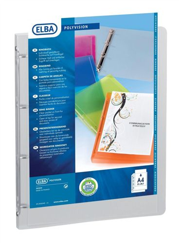 Elba Polyvision Presentation Ring Binder A4 Clear [Pack of 12]