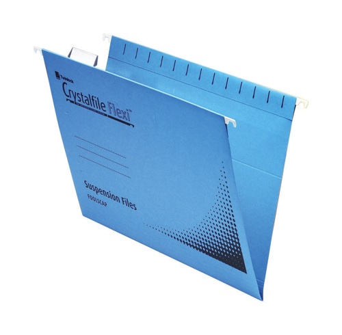 Crystal File Flexifile Standard Foolscap Blue [Pack of 50]