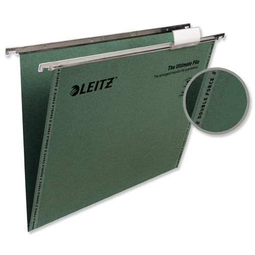 Leitz Ultimate Suspension File Recycled V-Base Foolscap Green [Pack 50]