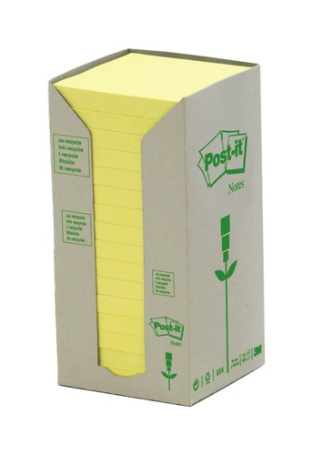 Post-It Recycled 76x76mm Yellow Tower Pack [Pack of 16]