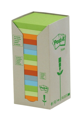 Post-It Recycled 76x76mm Pastel Tower Pack [Pack of 16]