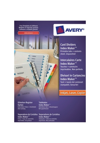 Avery IndexMaker Divider 10 Part Unpunched