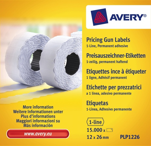 Avery 1 Line Label Permanent White [Pack of 10]