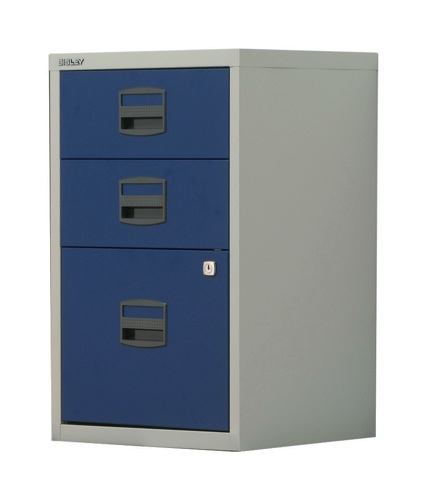 Bisley A4 Homefiler 3 Drawer Grey and Blue