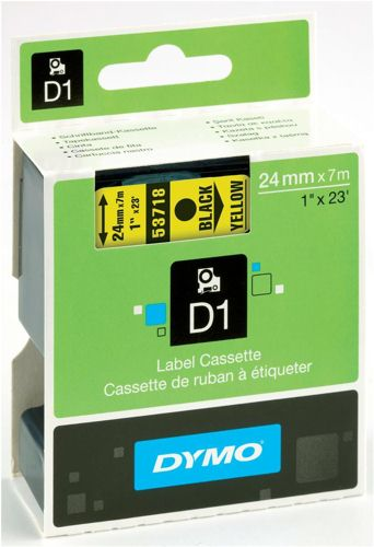Dymo 53718 24mm x 7m Black on Yellow Tape