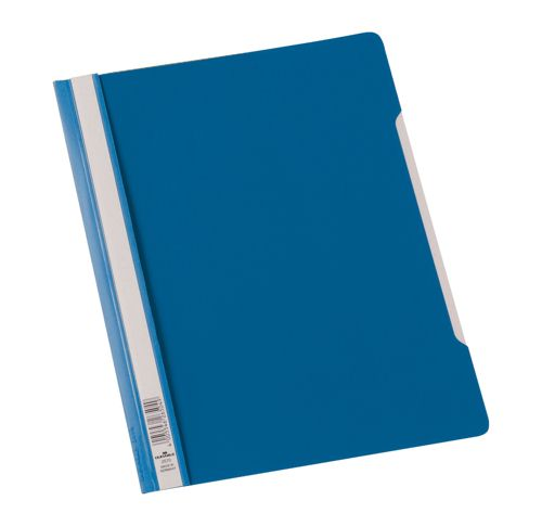 Durable Clear View Folder Plastic with Index Strip Extra Wide A4 Blue [Pack of 50]