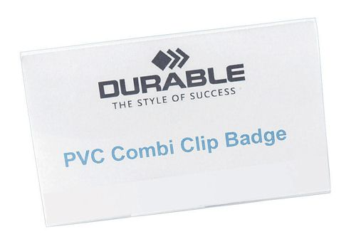 Durable Badgemaker PVC Combi Clip 54x90mm [Pack of 50]