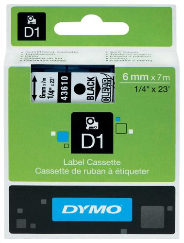 Dymo D1 Labels 6mm Black on Clear