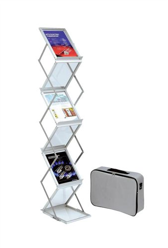 Deflecto A4 Folding Brochure Stand with Carry Case Silver [Alternative Picture 1]