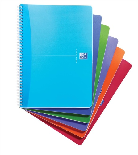 Oxford Office A4 Wiro Notebook Feint Rule and Margin Assorted [Pack of 5]