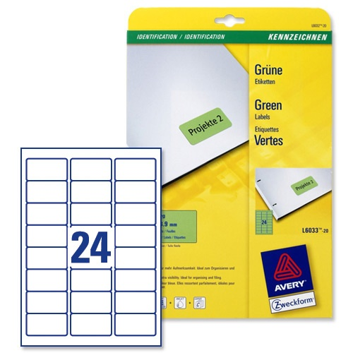 Avery Coloured Labels Laser 24/Sheet 63.5x33.9mm Green [480 Labels]