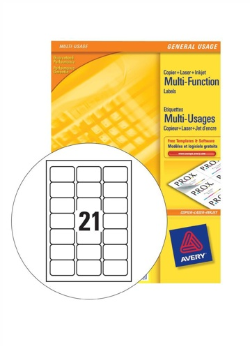 Avery Multi Labels 21/Sheet White [100 Sheets]