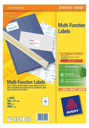 Avery Multi Labels 65/Sheet White [100 Sheets]
