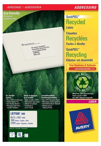 Avery Recycled Laser Address Labels LR7160-100 21/Sheet [Pack of 100 Sheets]