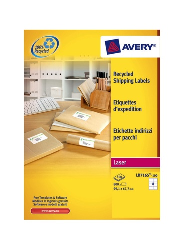 Avery Recycled Address Laser Labels 8/Sheet 99.1x67.7mm LR7165-100 White [100 Sheets]