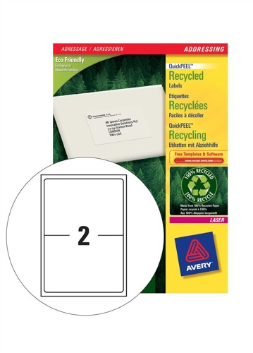 Avery Recycled Address Laser Labels 2/Sheet 199.6x143.5mm LR7168-100 White [100 Sheets]